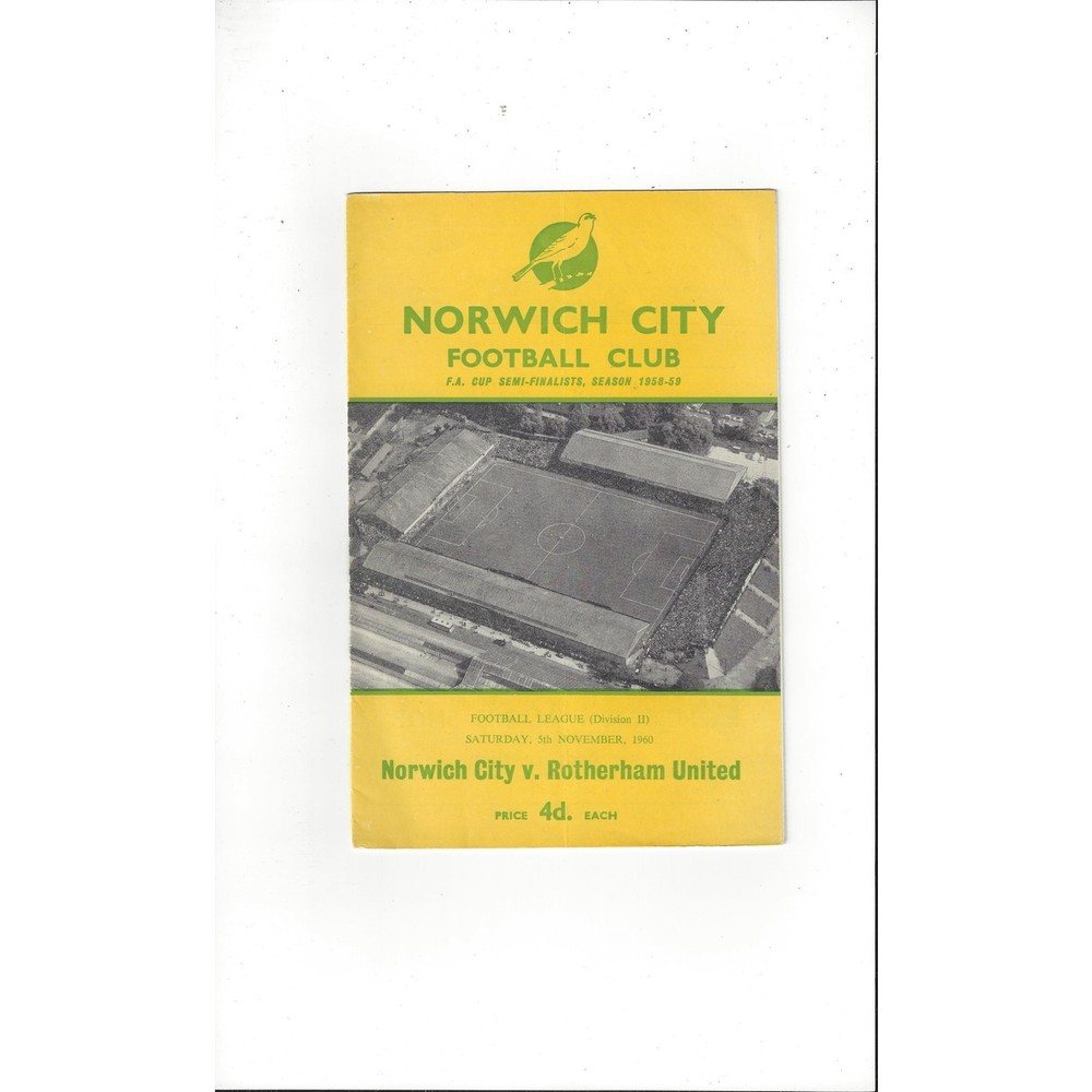 1960/61 Norwich City v Rotherham United Football Programme