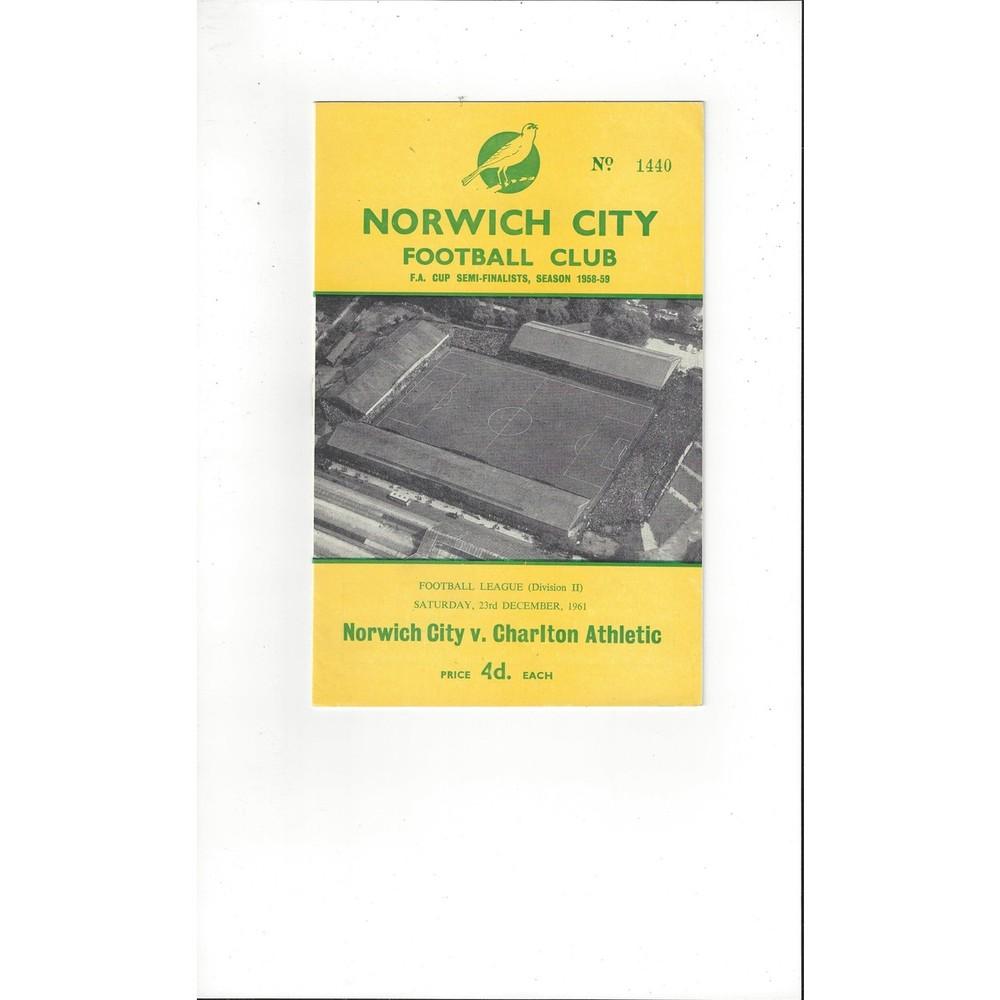 1961/62 Norwich City v Charlton Athletic Football Programme