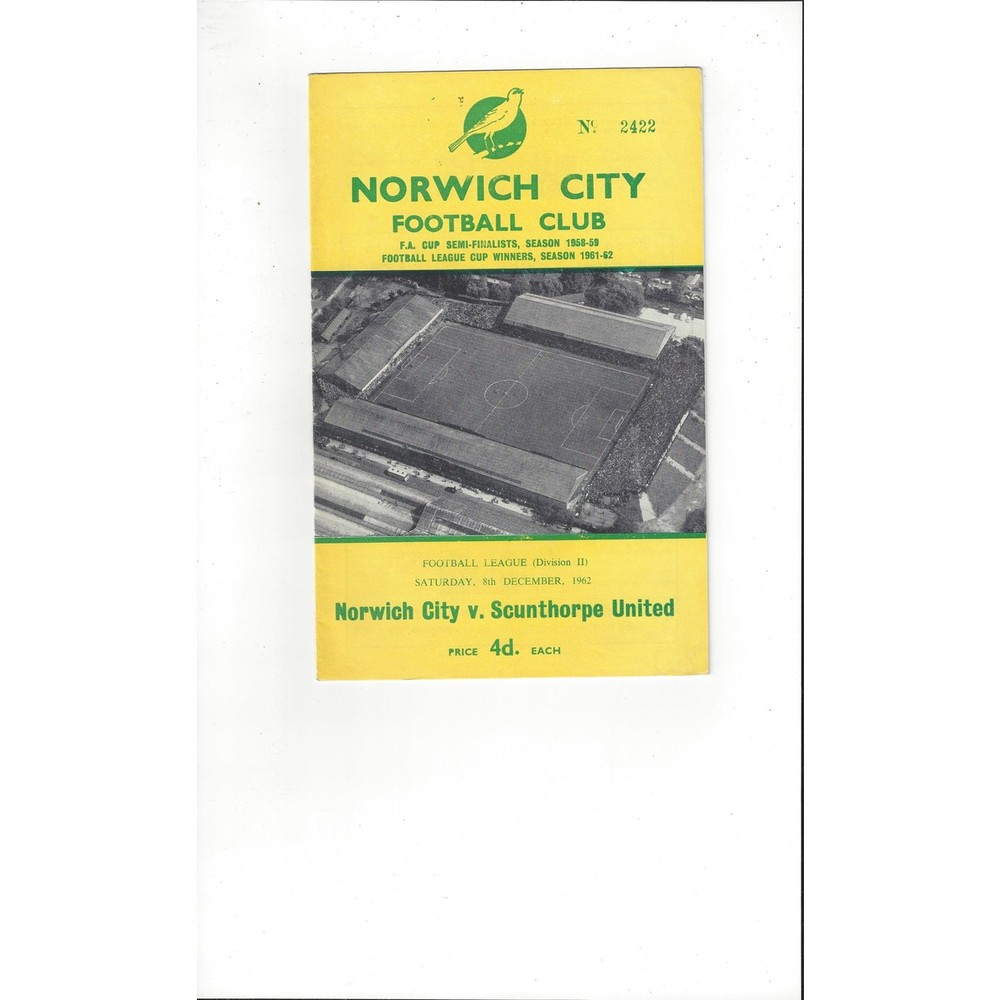 1962/63 Norwich City v Scunthorpe United Football Programme