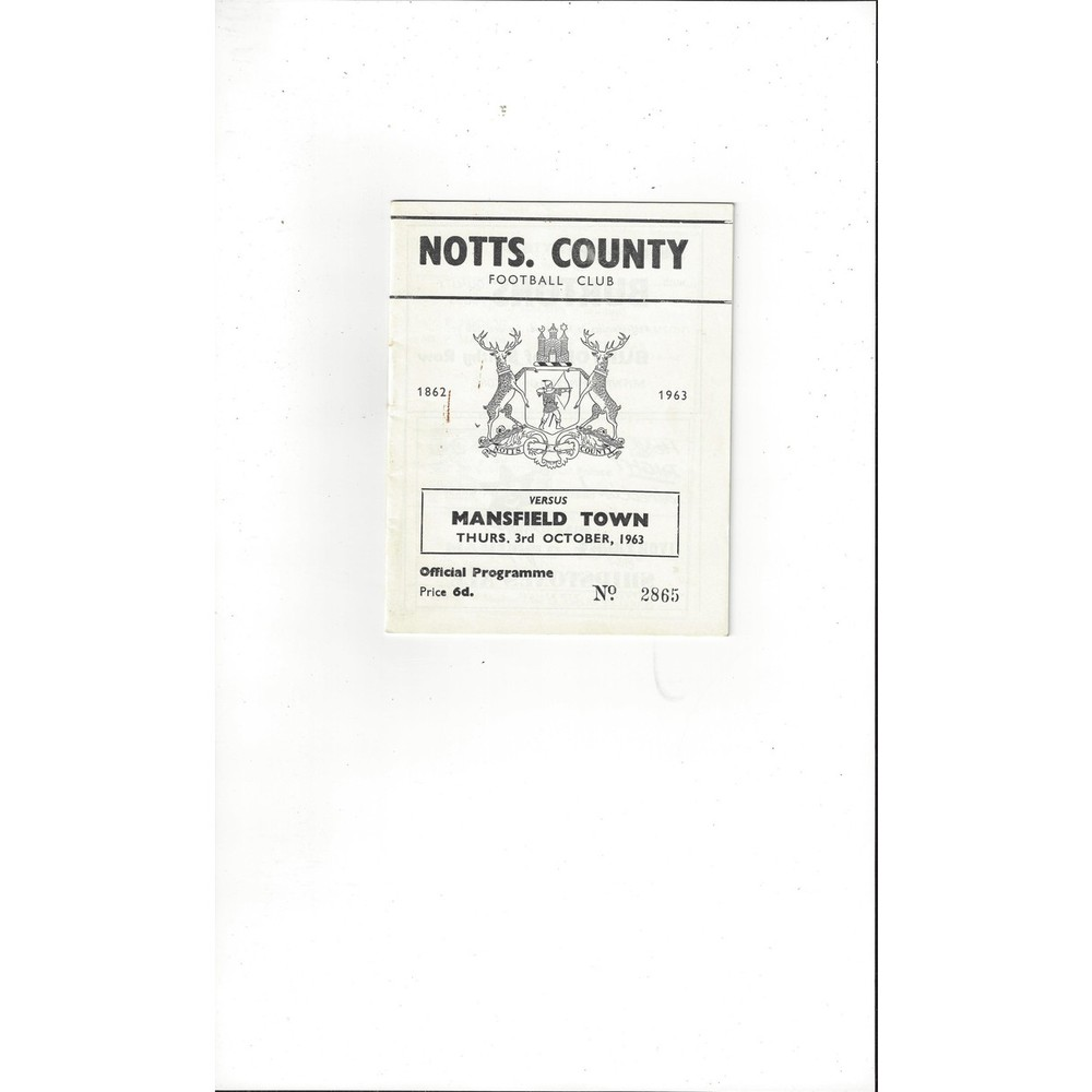 1963/64 Notts County v Mansfield Town Football Programme