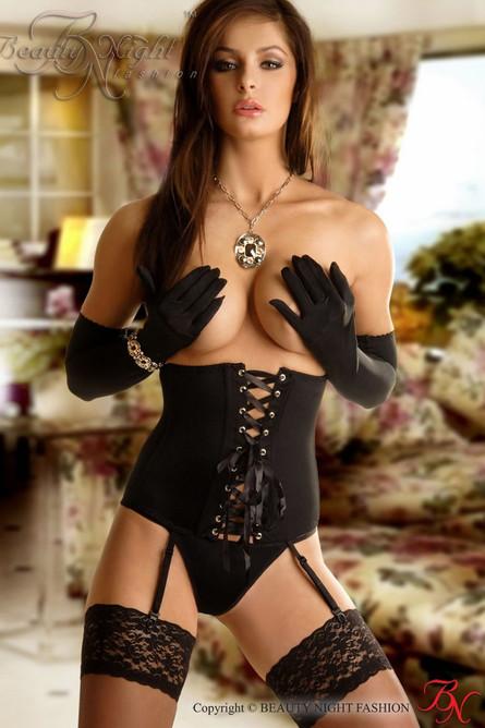 Beauty Night Carmen Waist Clincher, Thong and Gloves Black