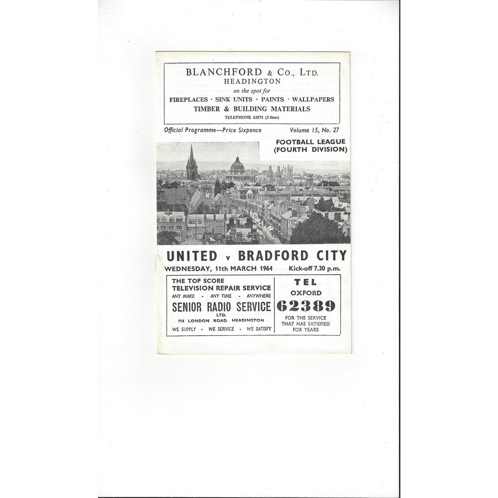 1963/64 Oxford United v Bradford City Football Programme