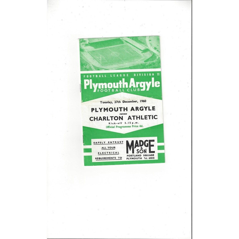 1960/61 Plymouth Argyle v Charlton Athletic Football Programme