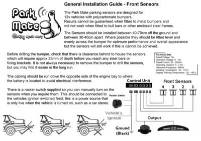 Parking sensors, Reverse parking sensors, Trade parking sensors
