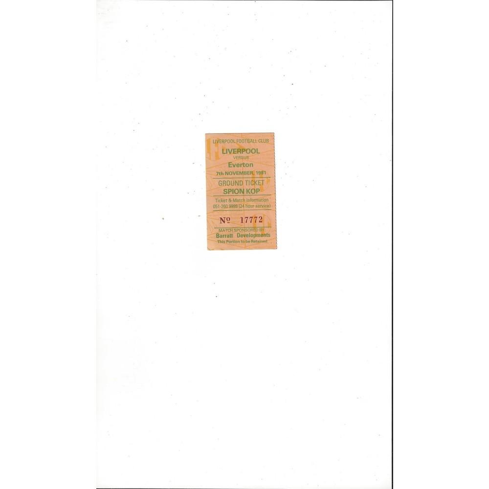 Liverpool v Everton Match Ticket Stub 1981/82