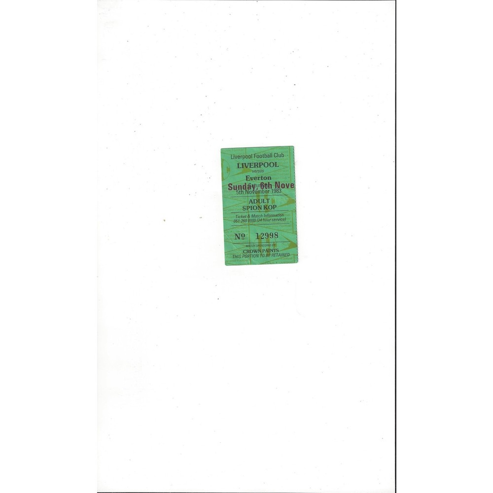 Liverpool v Everton Match Ticket Stub 1983/84