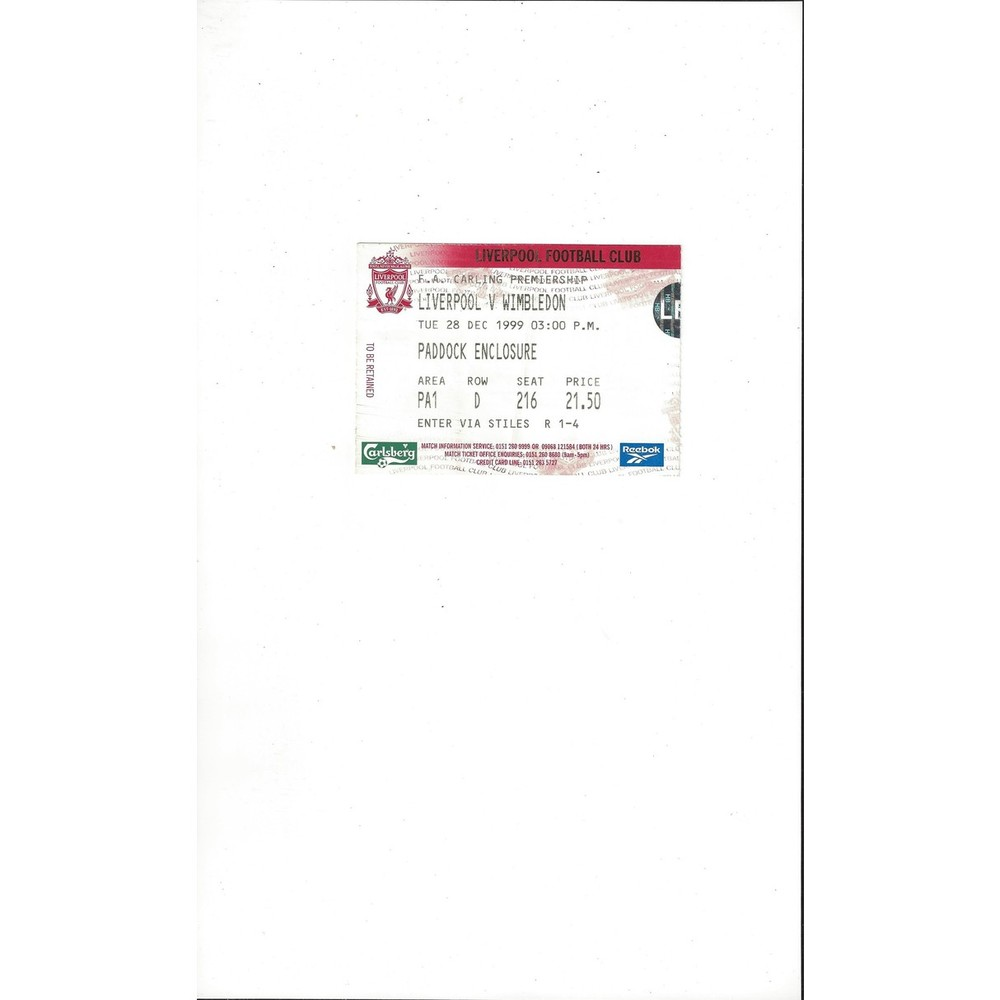 Liverpool v Wimbledon Match Ticket Stub 1999/00