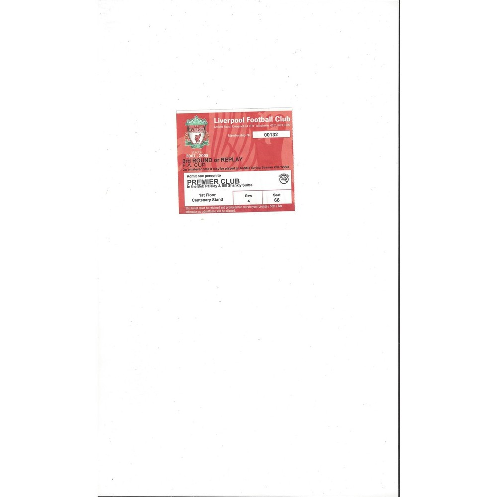 Liverpool FA Cup 3rd Round Match Ticket Stub 2007/08