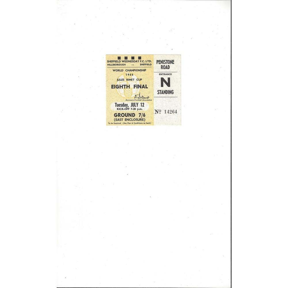 1966 World Cup West Germany v Switzerland 12th July Match Ticket @ Hillsborough