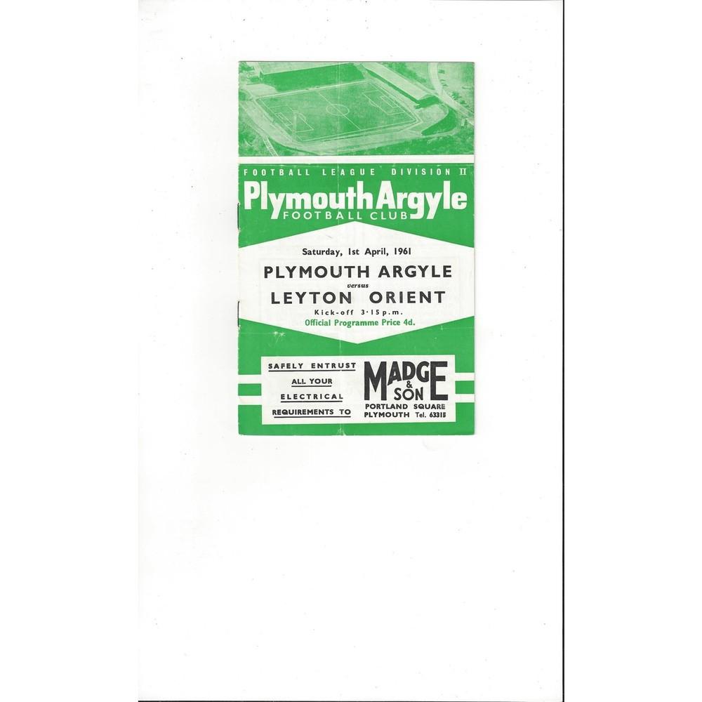 1960/61 Plymouth Argyle v Leyton Orient Football Programme