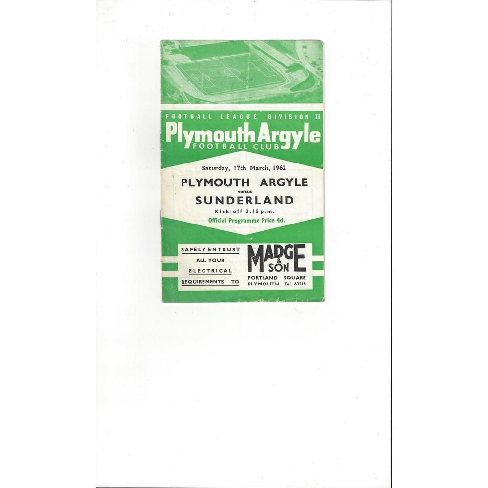 1961/62 Plymouth Argyle v Sunderland Football Programme