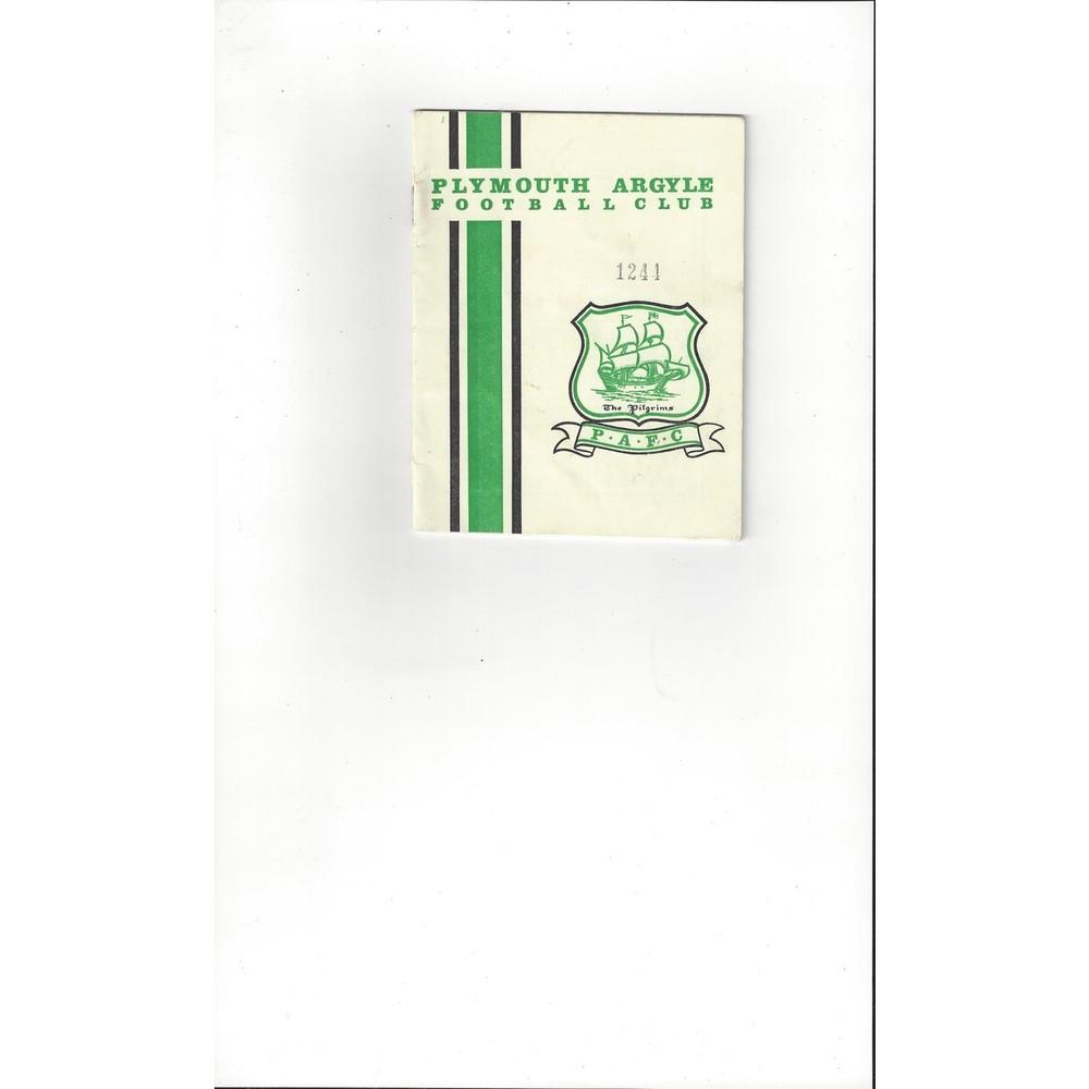 1964/65 Plymouth Argyle v Leyton Orient Football Programme