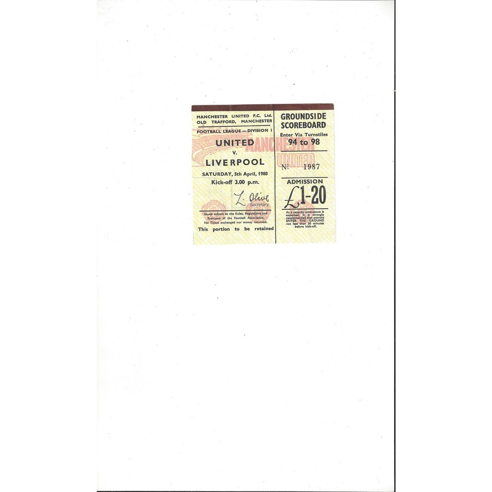 Manchester United v Liverpool Match Ticket Stub 1979/80