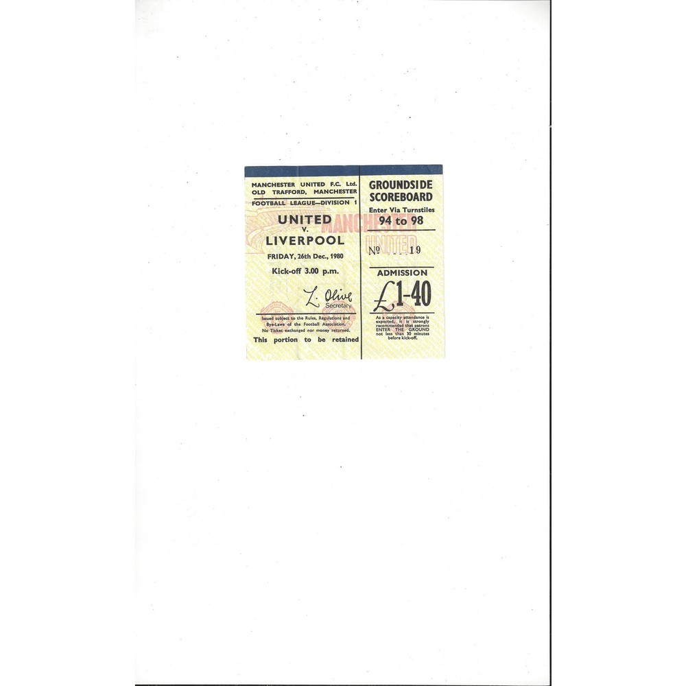 Manchester United v Liverpool Match Ticket Stub 1980/81