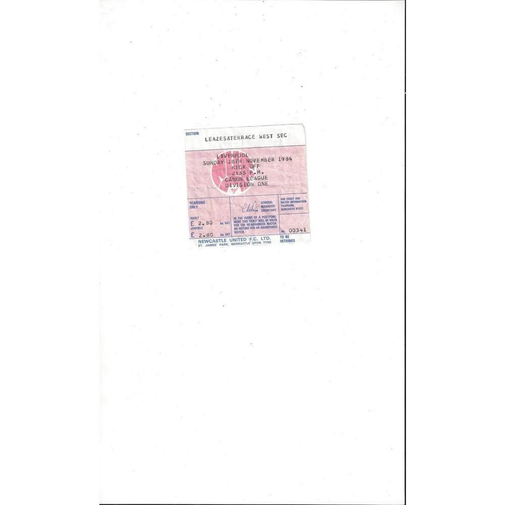Newcastle United v Liverpool Match Ticket Stub 1984/85