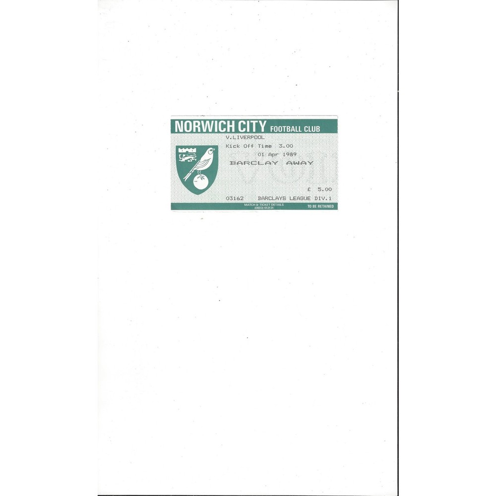 Norwich City v Liverpool Match Ticket Stub 1988/89