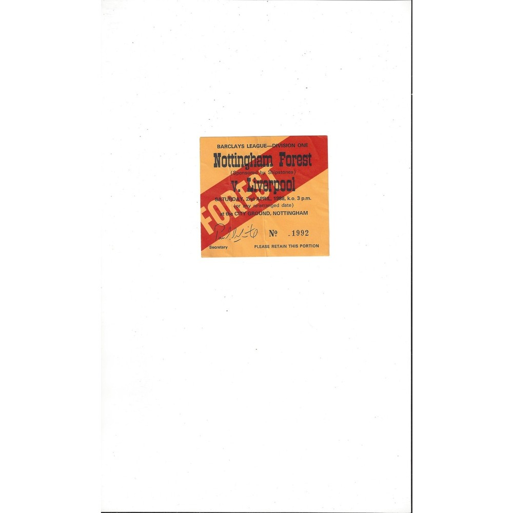 Nottingham Forest v Liverpool Match Ticket Stub 1987/88