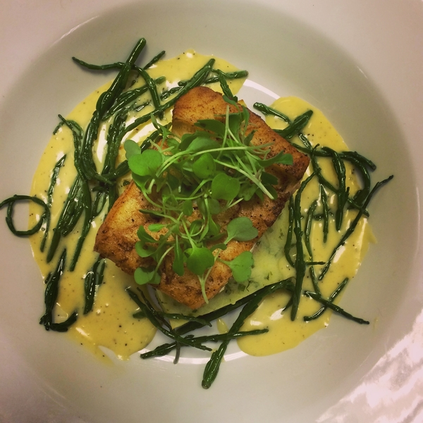 Panfried Halibut on Potato Cake, served with Hollandaise & Samphire Recipe