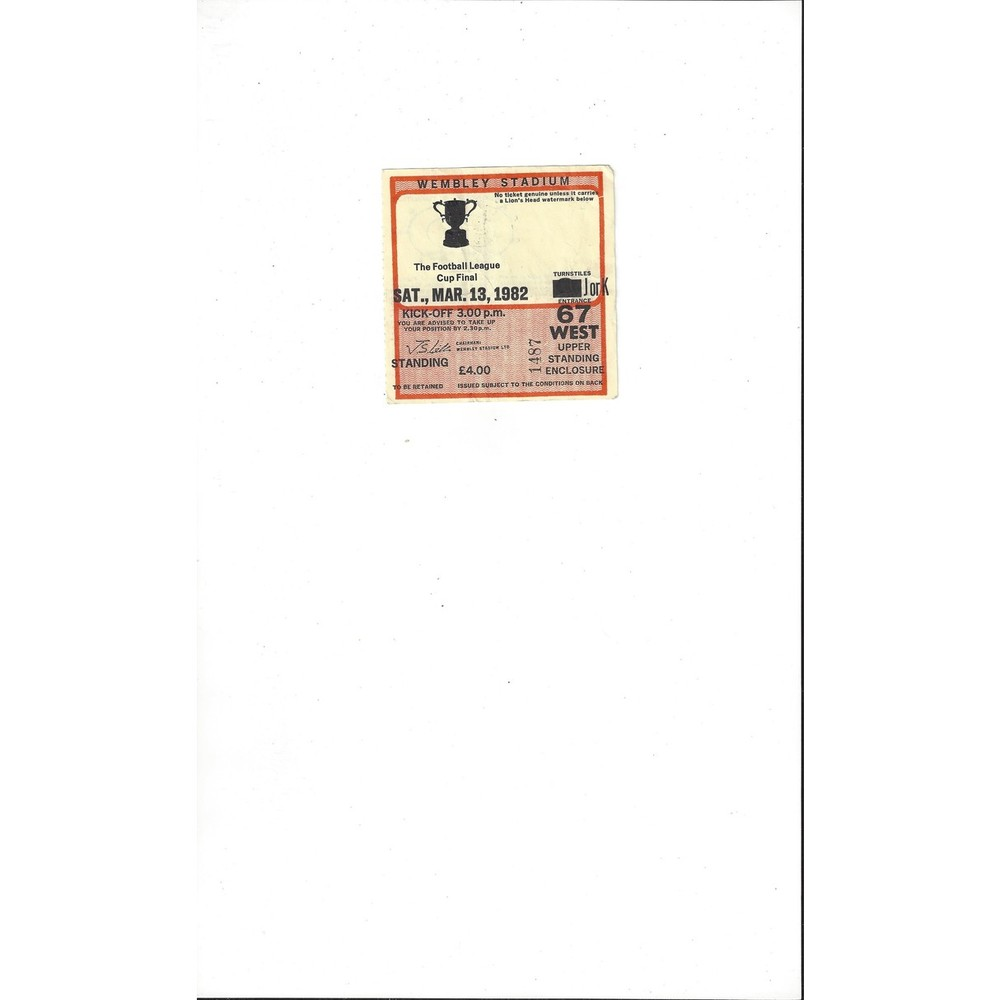 Liverpool v Tottenham Hotspur League Cup Final Match Ticket Stub 1982
