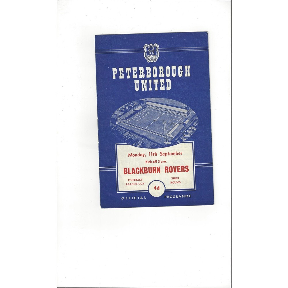 1961/62 Peterborough United v Blackburn Rovers League Cup Football Programme