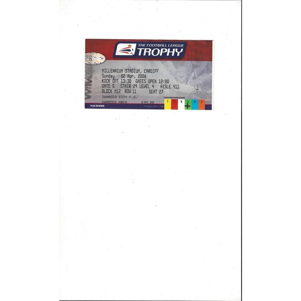 Carlisle United v Swansea City League Trophy Final Match Ticket Stub 2006