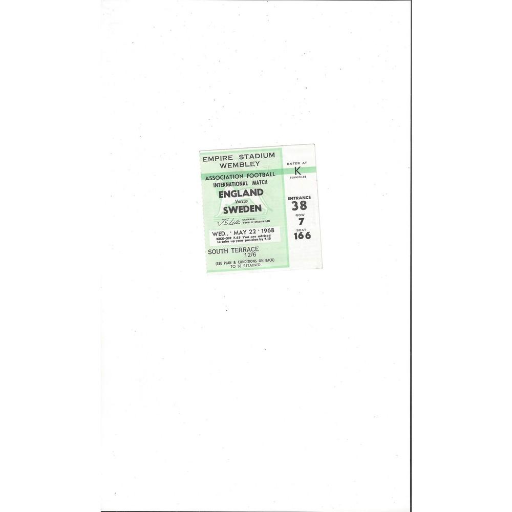 England v Sweden Match Ticket Stub 1968 - Green