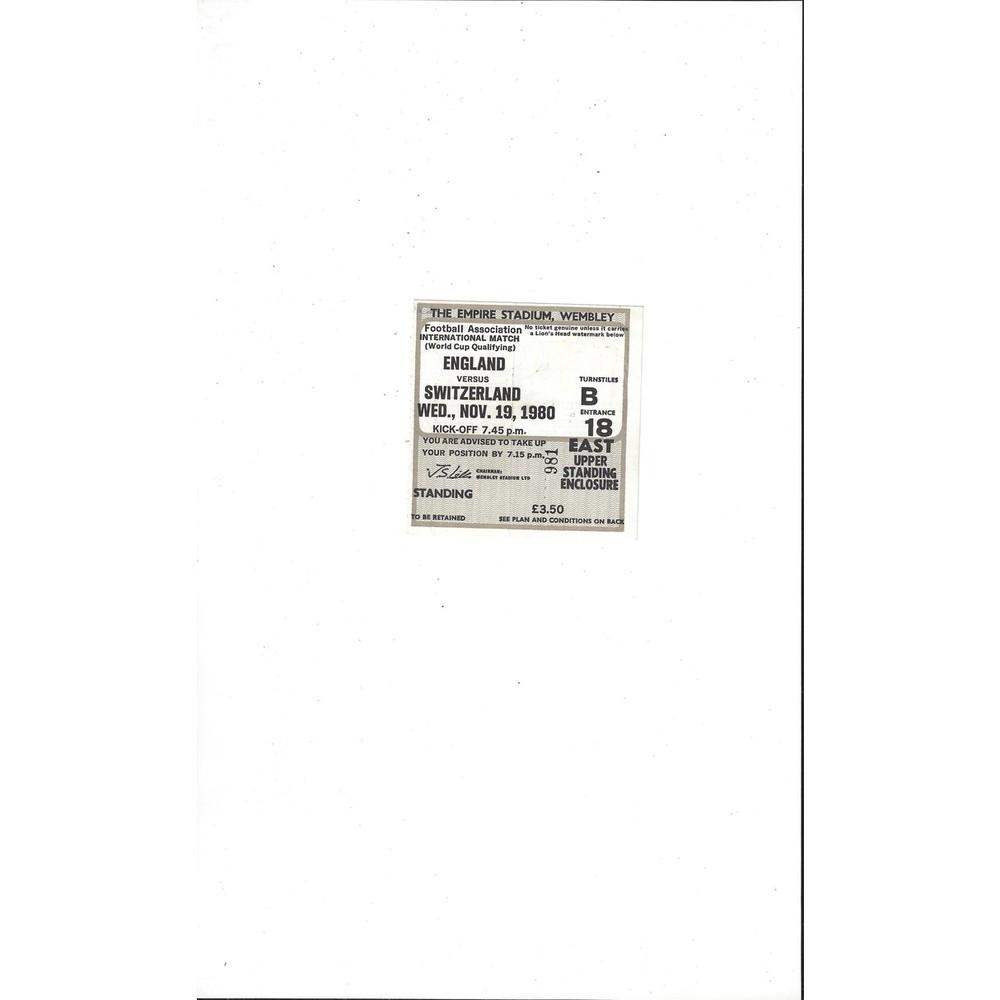 England v Switzerland Match Ticket Stub 1980