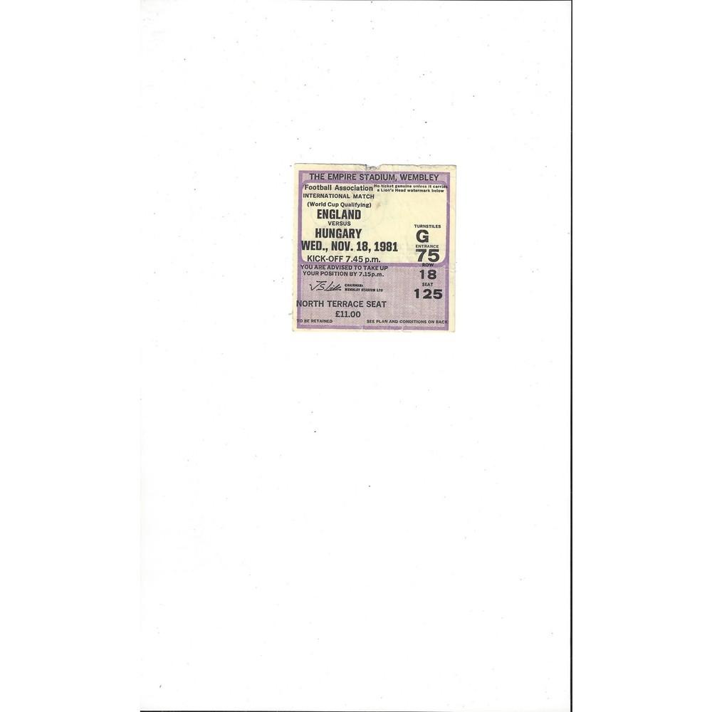 England v Hungary Match Ticket Stub 1981