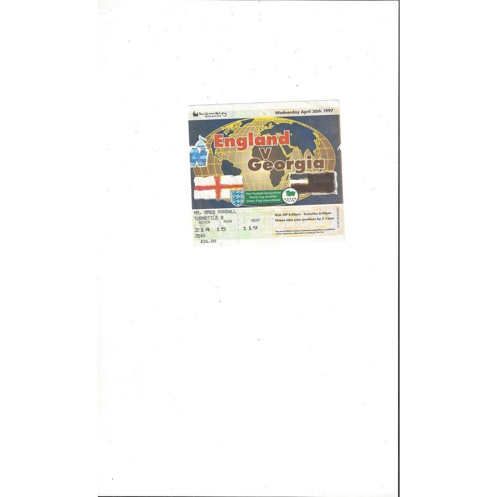 England v Georgia Match Ticket Stub 1997
