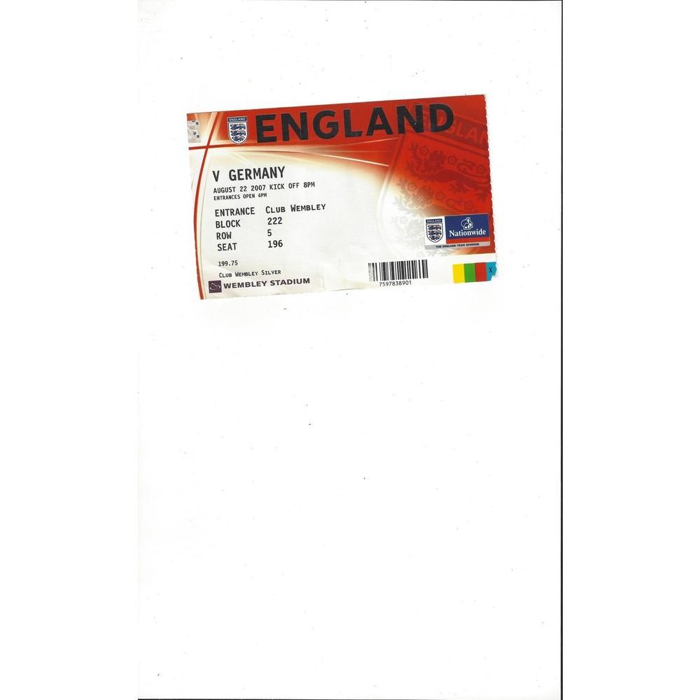 England v Germany Match Ticket Stub 2007