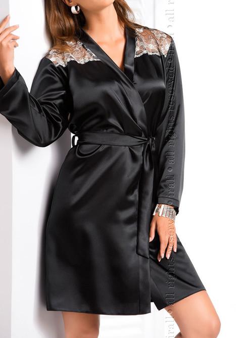 Ida Dressing Gown Black, ir