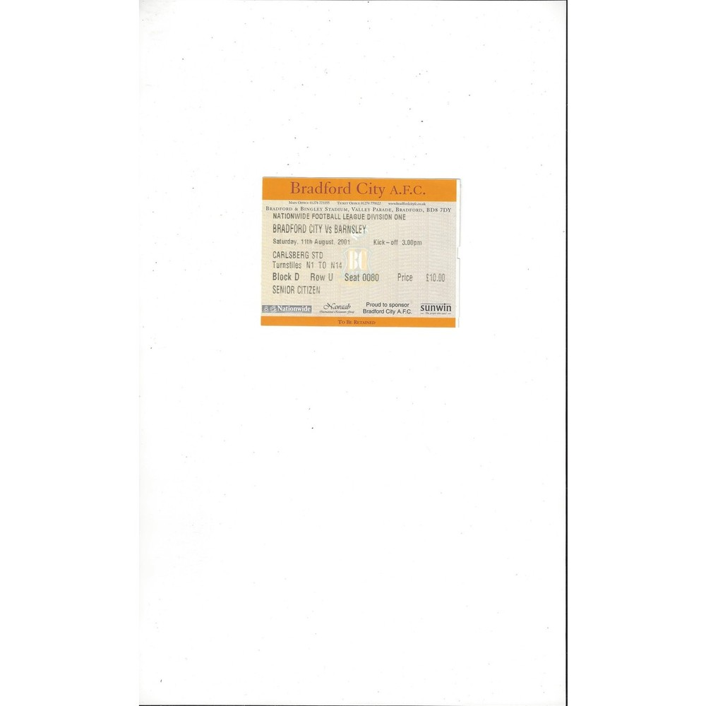 Bradford City v Barnsley Match Ticket Stub 2001/02