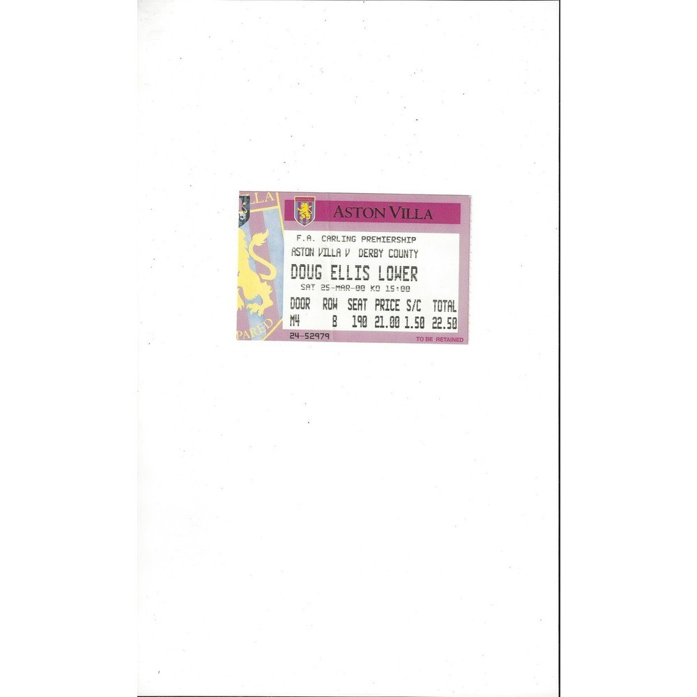 Aston Villa v Derby County Match Ticket Stub 1999/00