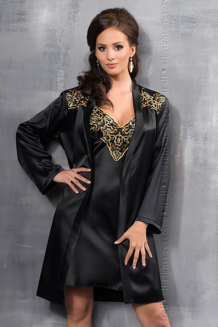 Luna Dressing Gown, Black/Gold ir