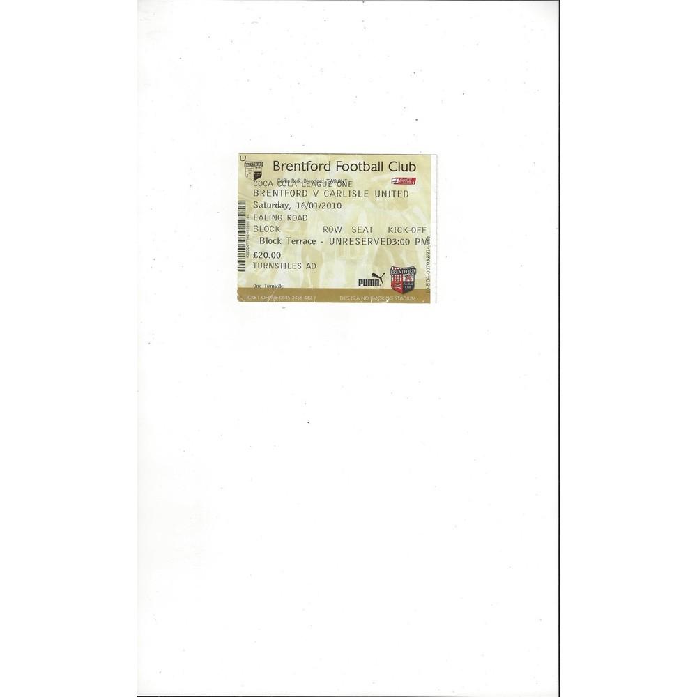 Brentford v Carlisle United Match Ticket Stub 2009/10