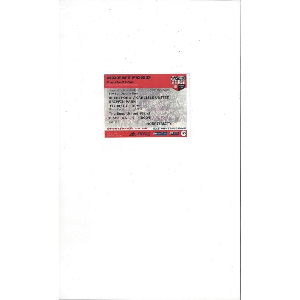 Brentford v Carlisle United Match Ticket Stub 2013/14