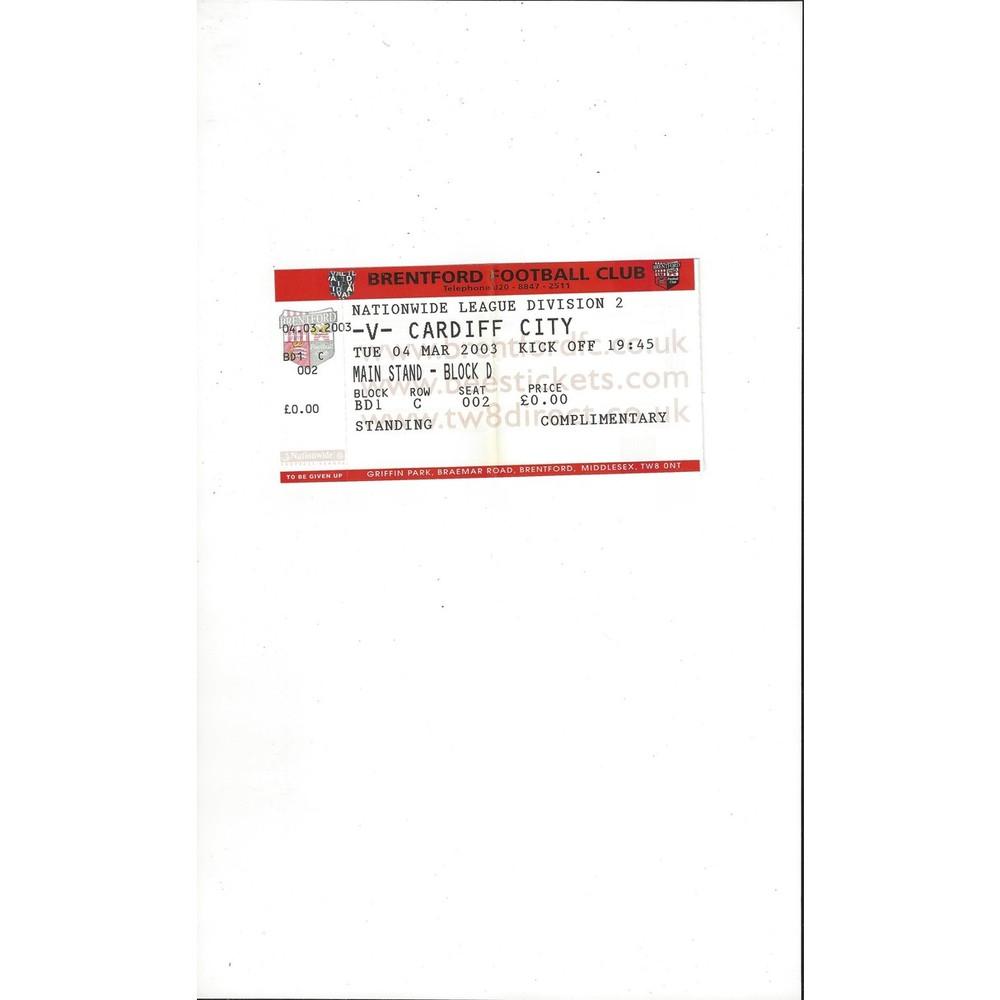 Brentford v Cardiff City Match Ticket Stub 2002/03