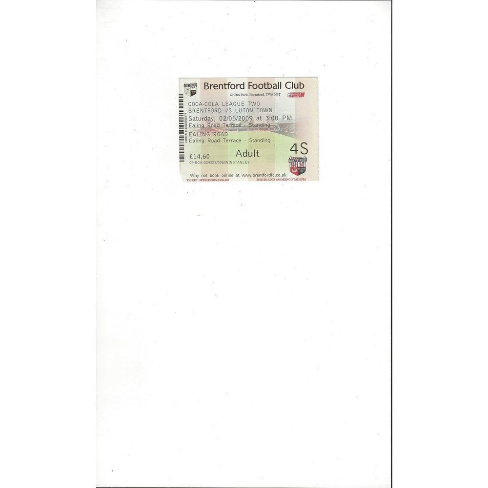 Brentford v Luton Town Match Ticket Stub 2008/09