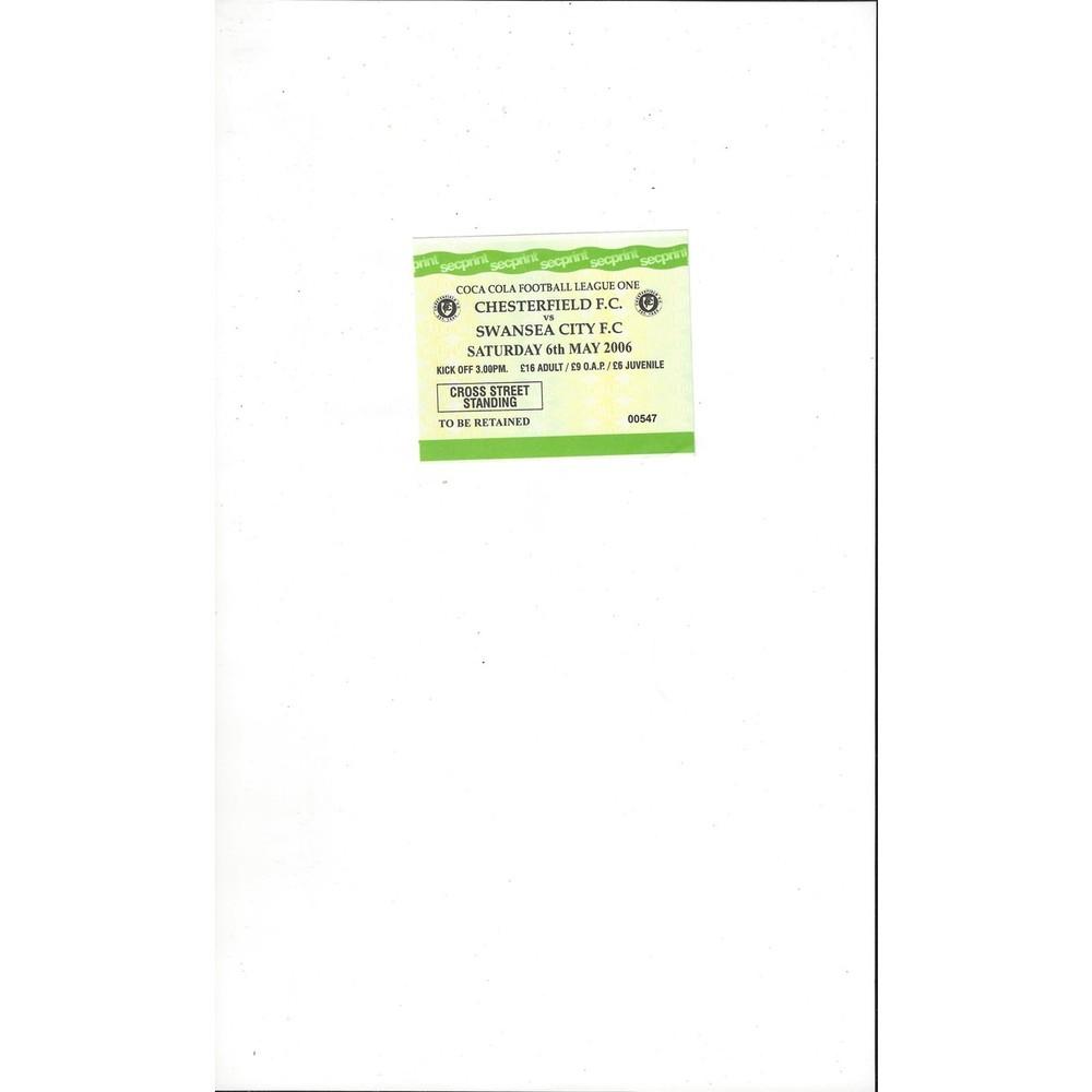 Chesterfield v Swansea City Match Ticket Stub 2005/06