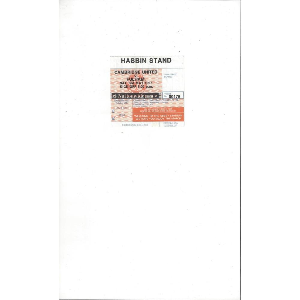 Cambridge United v Fulham Match Ticket Stub 1996/97