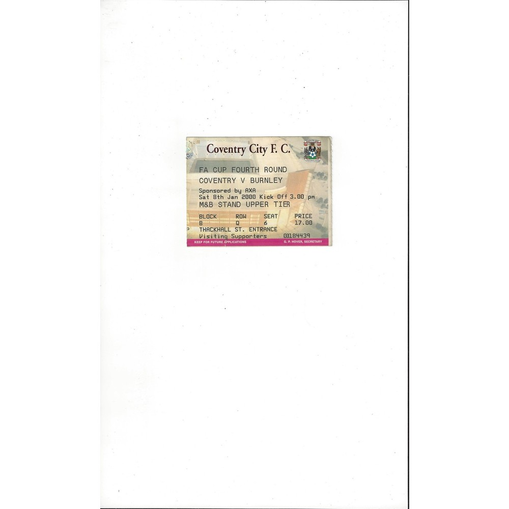 Coventry City v Burnley FA Cup Match Ticket Stub