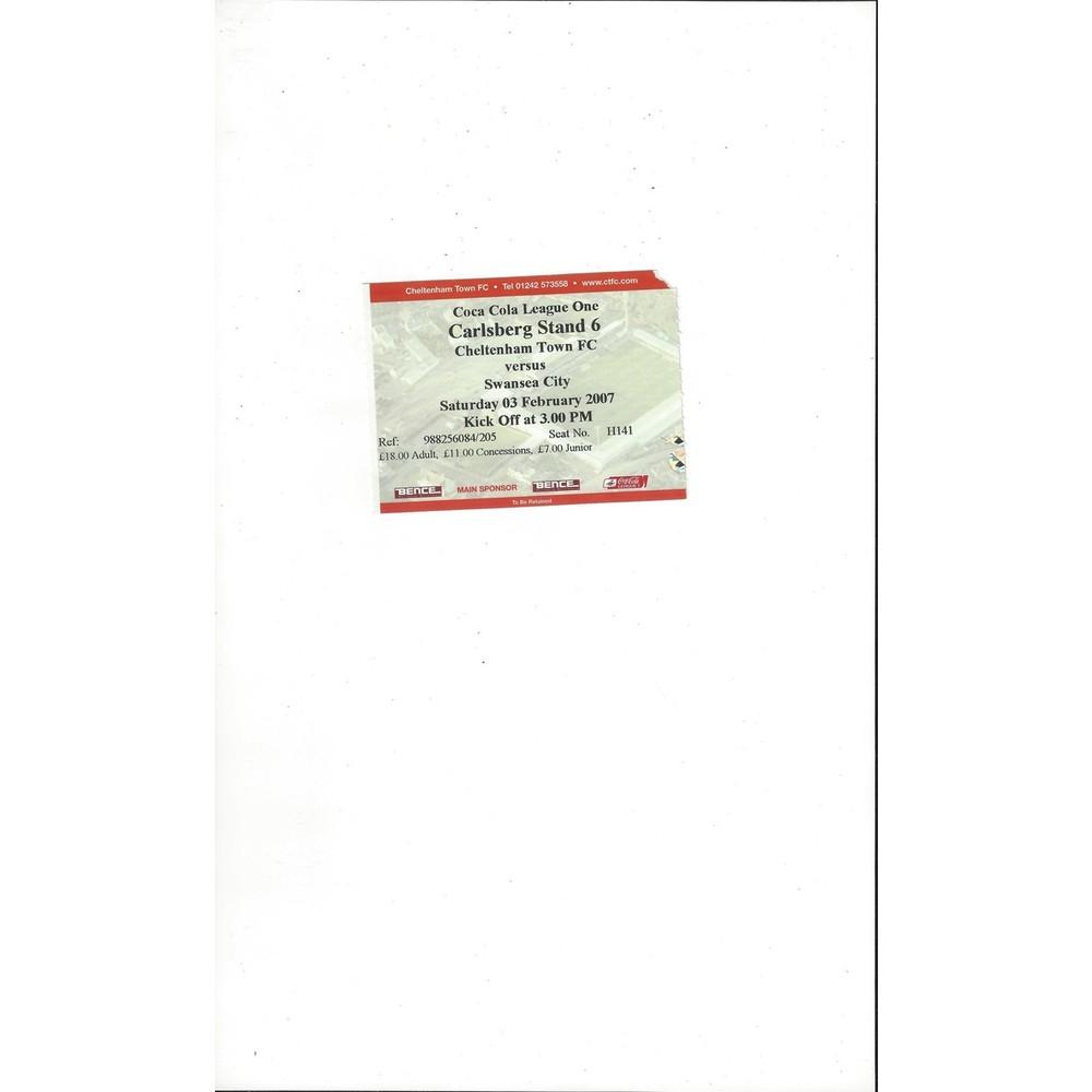 Cheltenham Town v Swansea City Match Ticket Stub 2006/07
