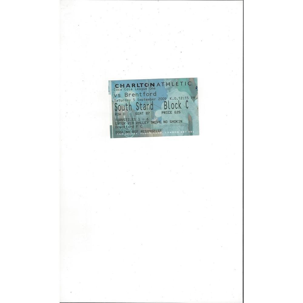 Charlton Athletic v Brentford Match Ticket Stub 2009/10