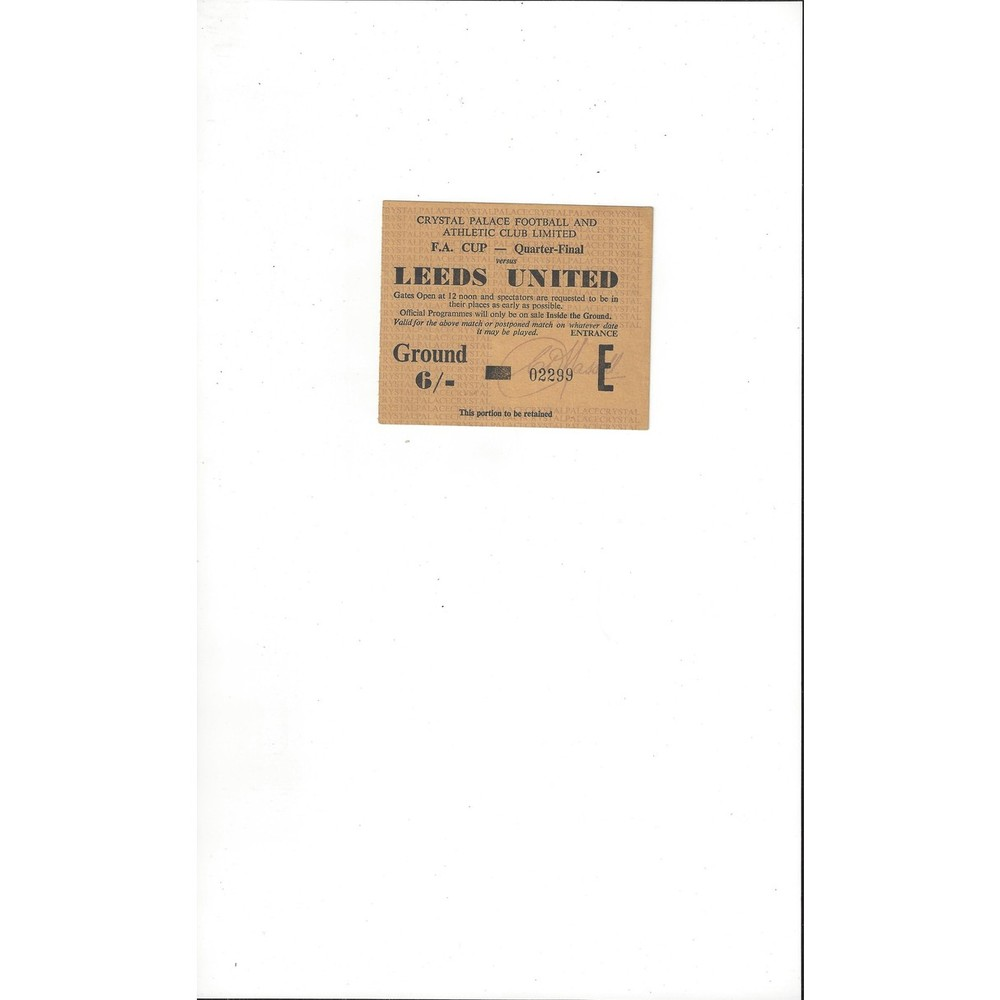 Crystal Palace v Leeds United FA Cup 1964/65 Match Ticket Stub - Yellow