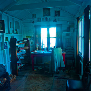 Inside the writing shed