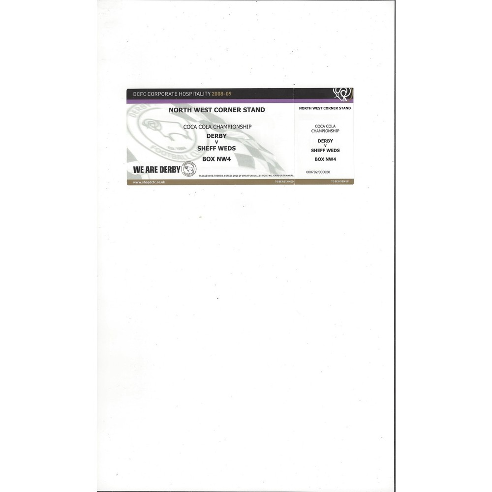 Derby County v Sheffield Wednesday Match Ticket Stub 2008/09