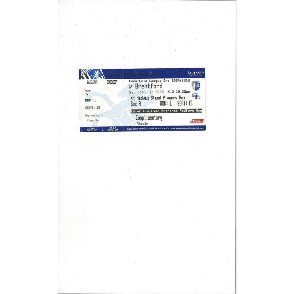Gillingham v Brentford Match Ticket Stub 2009/10
