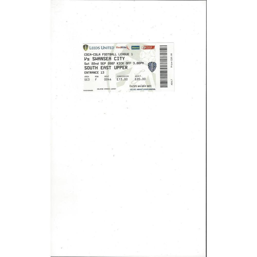 Leeds United v Swansea Match Ticket Stub 2007/08