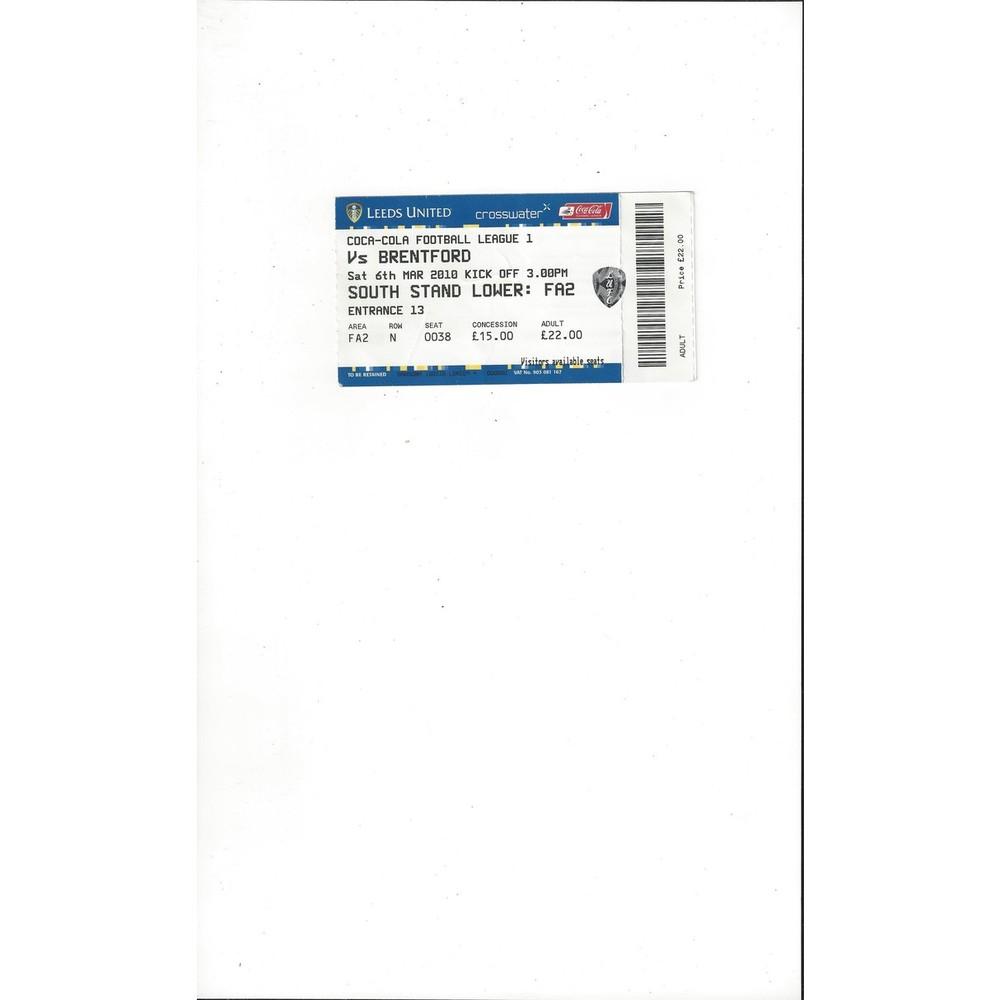 Leeds United v Brentford Match Ticket Stub 2009/10