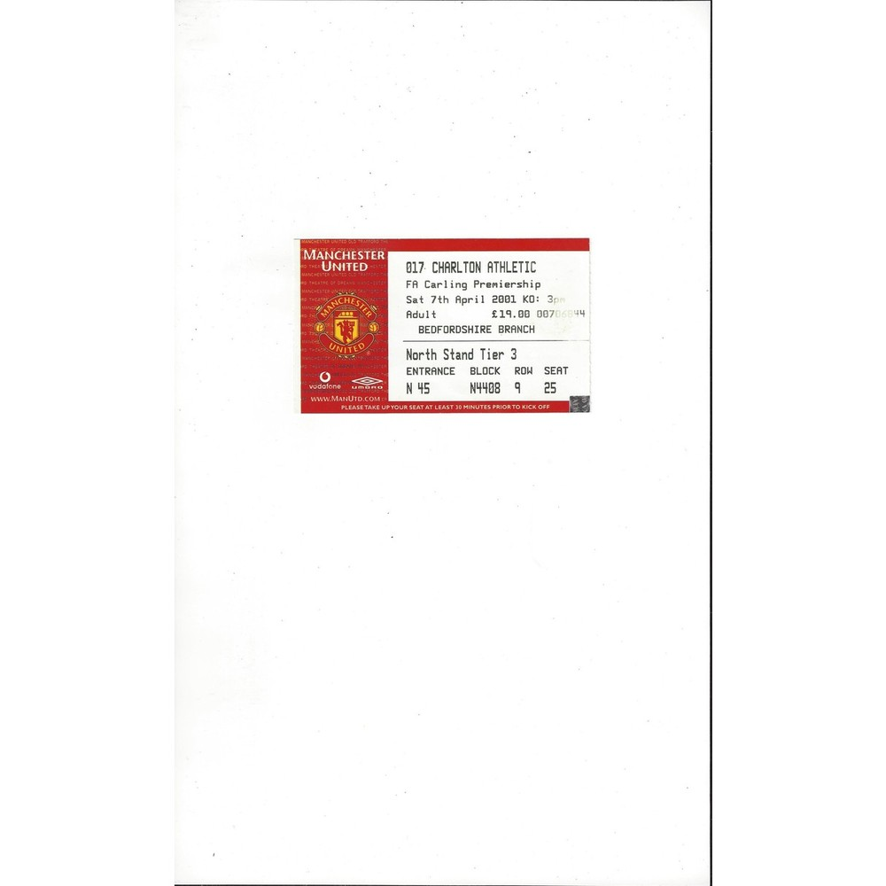 Manchester United v Charlton Athletic Match Ticket Stub 2000/01